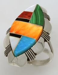 Handcrafted Multi-Stone Inlay Ring, Size 7