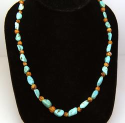 Turquoise Nugget & Heishi Beaded Necklace, New