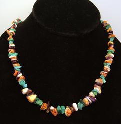 Navajo Handstrung Multi-Stone Necklace, 22in