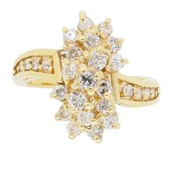 14K Yellow Gold Waterfall Diamond Ring