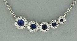 Flashy Diamond and Sapphire Necklace