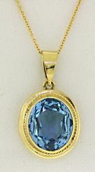 Blue Topaz Oval Necklace in 18kt