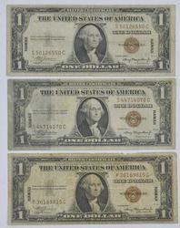 3 x Hawaii Emergency Silver Cert $1s