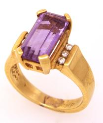 Amethyst & Diamond Ring, Size 4.5