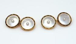 Mother of Pearl Cufflinks in Gold