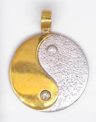 Two-Tone Gold Yin & Yang Pendant with Diamonds
