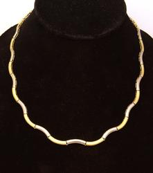 Beautiful Two Tone Wavy Gold Necklace, 20in