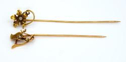 Two Gold Floral Stickpins w/ Moonstone & Seed Pearl