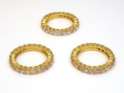Three Crystal Circle Stacking Bands in Vermeil