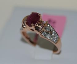 Elegant Ruby & Diamond Ring, 14K Rose Gold