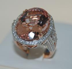 Morganite & Diamond, 14KT Rose Gold