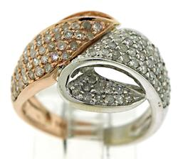 Rose and White Gold Pave Diamond Ring