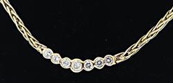 Diamond Half Bezel Wheat Link Chain Necklace