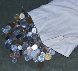 Huge Cloth Bag with 30+ Pounds of Coins of the World