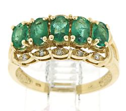 Nice Emerald and Diamond Accent Ring