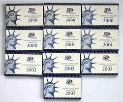 2 Each 1999-2003 US Proof Sets