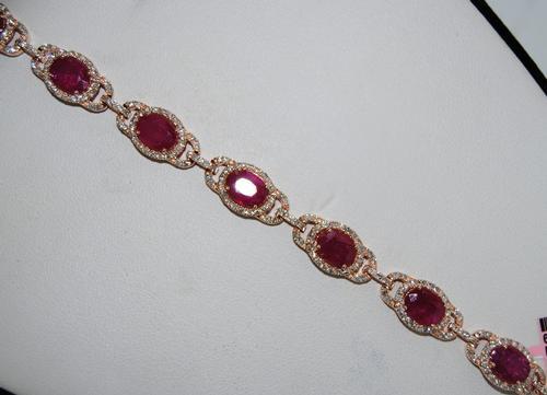 Ruby & Diamond Bracelet, 14K Rose Gold