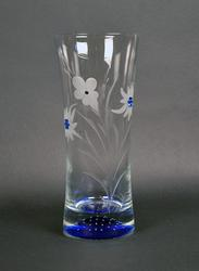 Clear and Cobalt Blue Crystal Vase With Etched Flowers