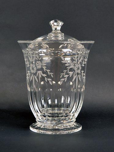 Gorgeous Clear and Frosted Cut Crystal Biscuit Jar
