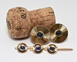 Vintage 14K Cufflink and Stud Set with Sapphires