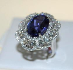 18kt White Gold Tanzanite & Diamond Cocktail Ring