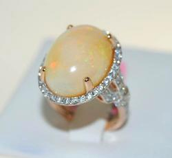 14kt Rose Gold Opal & Diamond Cocktail Ring