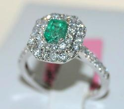 Eye Catching Emerald & Diamond Cocktail Ring, 18kt