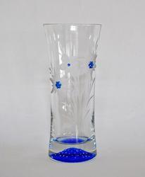 Crystal Vase With Etched Flowers & Cobalt Blue Details