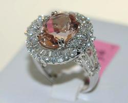 14kt White Gold Morganite & Diamond Ring