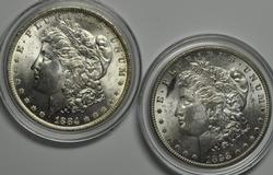 1884 O And 1898 O Frosty White Unc Morgan Dollars