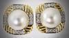 High End Elegant 18K Mobe Pearl & Diamond Earrings