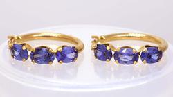Gold Hoop Earrings with Tanzanite