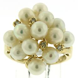 Beautiful Pearl and Diamond Cluster Ring