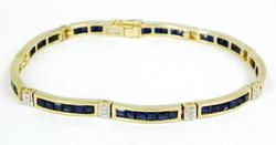 14K Gold Bracelet of Sapphires & Diamonds