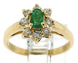 Gorgeous Emerald with Diamond Halo Ring