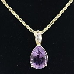 Perar Amethyst and Diamond Accent Necklace
