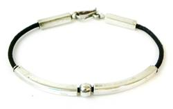 Sleek Sterling & Leather Bracelet