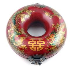 Wood Dragon Phoenix Double Happiness Brass Lock Box