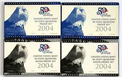 2 Each 2004 Silver and Clad Proof State Quarter Sets