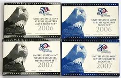 2006 And 2007 Silver and Clad Proof State Quarter Sets