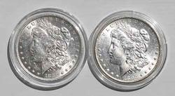 1882 O And 1883 O Frosty White BU Morgan Dollars