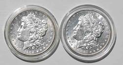 1887 And 1902 O Near Unc Frosty White Morgan Dollars