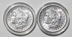 1881 S And 1884 O Frosty White Morgan Dollars