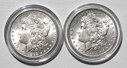 1898 And 1903  Frosty White Morgan Dollars