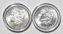 1879 S and 1904 0 BU Morgan Silver Dollars Frosty White