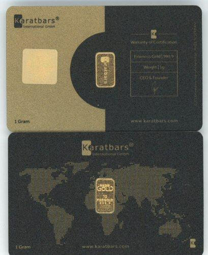 2 Special 1 gram pure .9999 gold KaratBars in cards