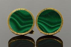 14kt Yellow Gold Stunning Green Malachite Cufflinks