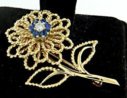 Gorgeous Diamond and Sapphire Flower Brooch