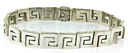 Silver Greek Key Link Bracelet