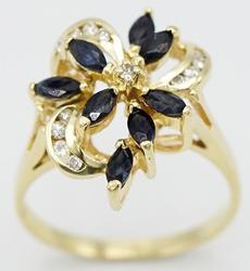 14kt Gold Blue Sapphire & Diamond Ring